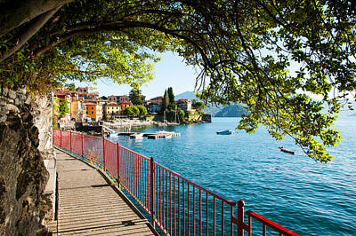 Como Photograph - Walkway Along The Shore Of A Lake by Panoramic Images