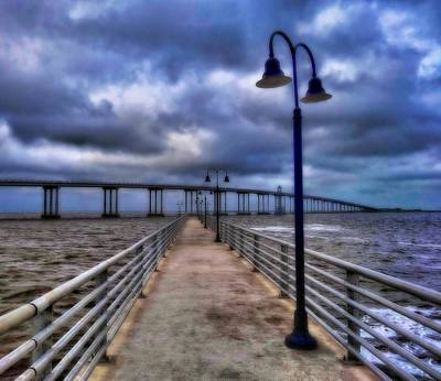 Walkway And Bridge On Gulf Of Mexico Art Print by Dan Sproul