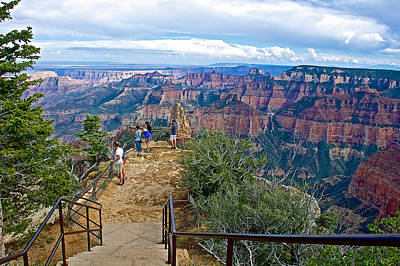 Walkway Digital Art - Walkway Out On Point Imperial At 8803 Feet On North Rim Of Grand Canyon National Park-arizona  by Ruth Hager