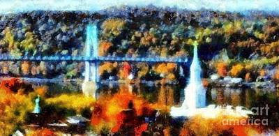 Photograph - Walkway Over The Hudson Autumn Riverview by Janine Riley