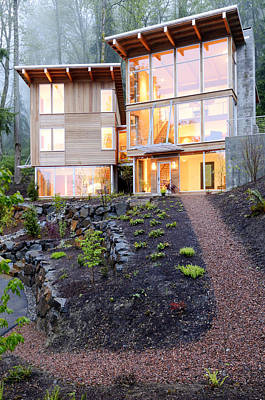 Walkway To Modern House Art Print by Will Austin