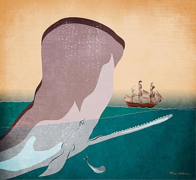 Whale Painting - Wall 6 by Mark Ashkenazi