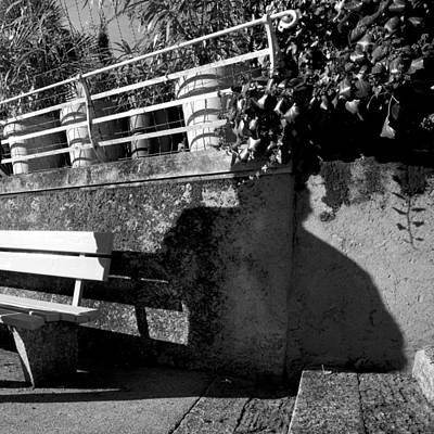 Wall Bench Shadows Stairs Art Print