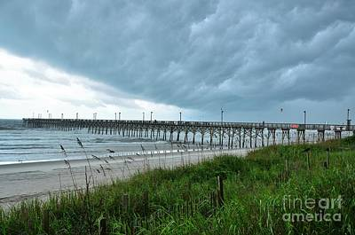 Photograph - Wall Cloud Over Surf City Pier by Bob Sample