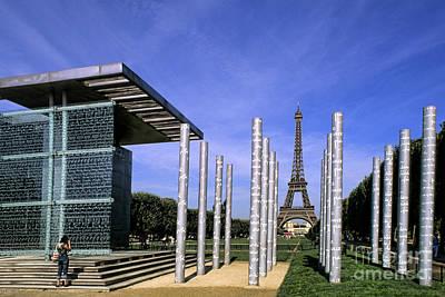 Photograph - Wall For Peace & Eiffel Tower, Paris by Bill Bachmann