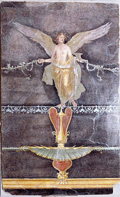 Wall  Fragment With Winged Female Nike On Black Ground Art Print