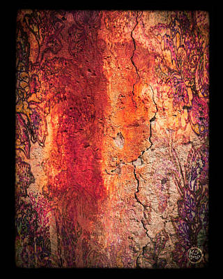 Mixed Media - Wall Fresco In Orange Sunset by Absinthe Art By Michelle LeAnn Scott