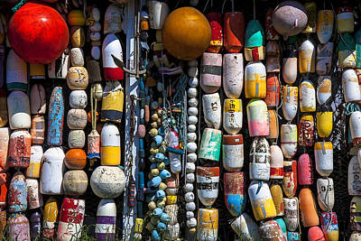 Weatherworn Photograph - Wall Of Fishing Buoys by Garry Gay