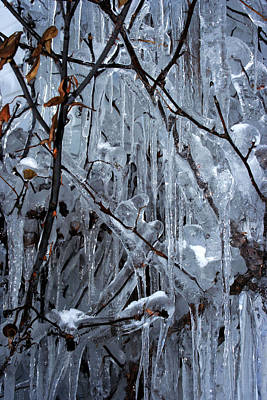 Photograph - Wall Of Icicles by Ron Grafe