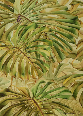 Painting - Wall Of Monstera Leaves by DK Nagano