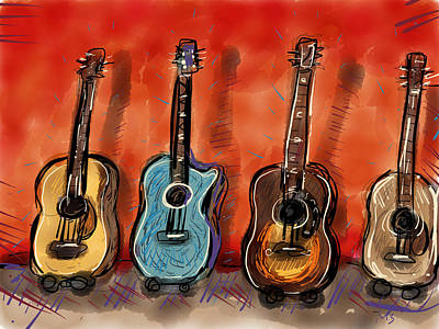 Acoustic Guitar Drawing - Wall Of Sound by Mike Brennan