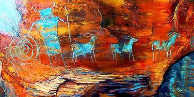 Petroglyph Painting - Wall Of The Hunter by Ritch Gaiti