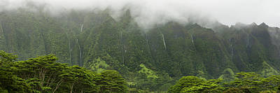 Photograph - Wall Of Waterfalls - Pali Mountains - Oahu Hawaii by Brian Harig