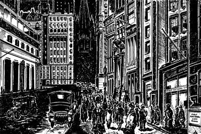 New York Wall Street 1920 - Black Ink Art Print by Art America Gallery Peter Potter