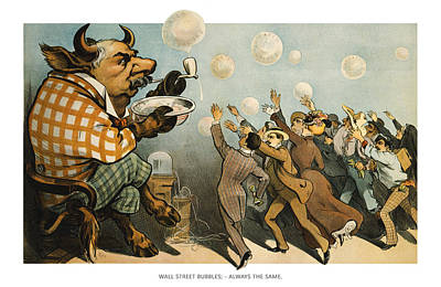 Wall Street Bubbles Always The Same Art Print by Aged Pixel