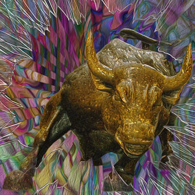 Famous Sculptor Painting - Wall Street Bull 3 by Jack Zulli