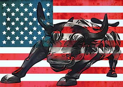 Landmarks Mixed Media - Wall Street Bull American Flag by Dan Sproul