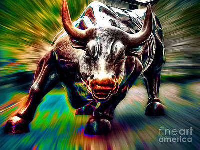 Bull Mixed Media - Wall Street Bull by Marvin Blaine
