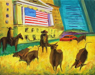 Painting - Wall Street Bulls On The Run Painting By Bertram Poole Artist by Thomas Bertram POOLE