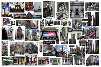 Print featuring the digital art Wall Street Financial District Collage by Steven Spak