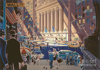 Wall Street Art Print by Michael Young