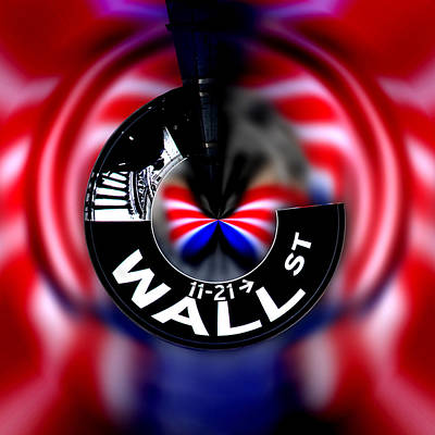Red White And Blue Digital Art - Wall Street Sign Circagraph by Az Jackson