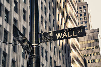 Power Photograph - Wall Street Sign by Garry Gay