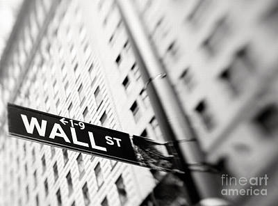 New York Signs Photograph - Wall Street Street Sign by Tony Cordoza