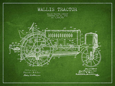 Wallis Tractor Patent Drawing From 1916 - Green Art Print