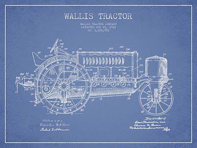 Wallis Tractor Patent Drawing From 1916 - Light Blue Art Print