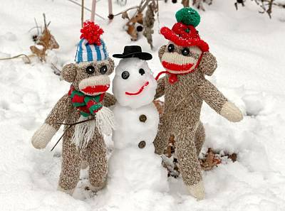 Animals Royalty-Free and Rights-Managed Images - Wally and Petey Snowman by Jennifer Wheatley Wolf