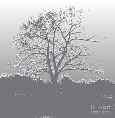 Digital Art - Walnut Tree Series Plaster Silver by Conni Schaftenaar