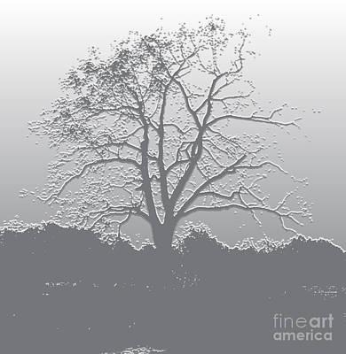 Digital Art - Walnut Tree Series Plaster Silver by Conni Schaftenaar