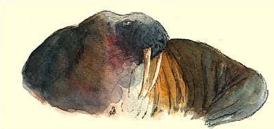 Polar Wall Art - Painting - Walrus by Juan  Bosco