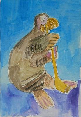 Walrus Playing Horn Original by James George