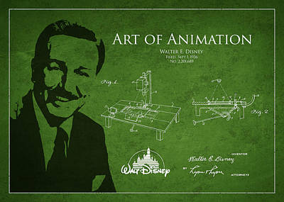 Walt Disney Patent From 1936 Art Print by Aged Pixel
