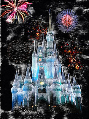 Fireworks Mixed Media - Walt Disney World Frosty Holiday Castle by Thomas Woolworth