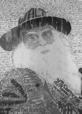 Whitman Drawing - Walt Whitman Typography Pencil Drawing. by Briar Louks
