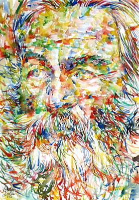 Walt Whitman Watercolor Portrait.1 Art Print by Fabrizio Cassetta
