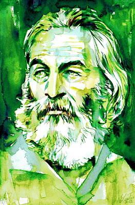 Walt Whitman - Watercolor Portrait.4 Art Print by Fabrizio Cassetta
