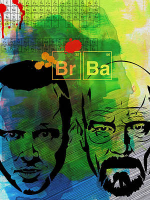 Crime Drama Movie Painting - Walter And Jesse Watercolor by Naxart Studio