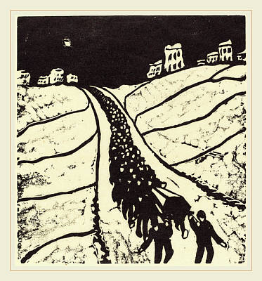 Walter Gramatté, Burial Begrabnis, German Art Print by Litz Collection