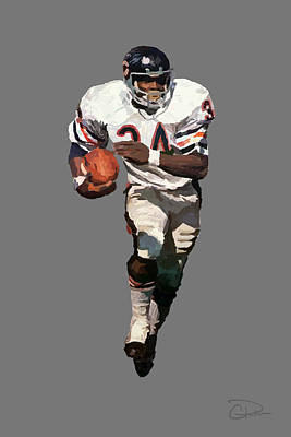 Soldier Field Digital Art - Walter Payton by Charley Pallos