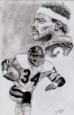 Hall Of Fame Drawing - Walter Payton by Jonathan Tooley