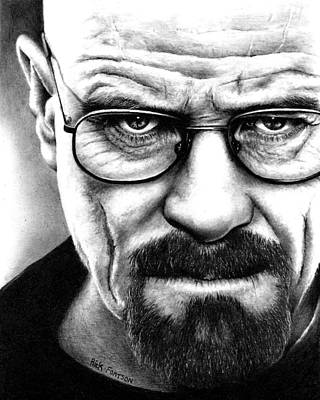 Walter Drawing - Walter White Breaking Bad by Rick Fortson