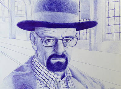 Walter White Pen Drawing From Breaking Bad Art Print by Kyle Calandra