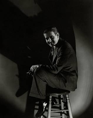 Walter Winchell Sitting On A Stool Art Print by Edward Steichen