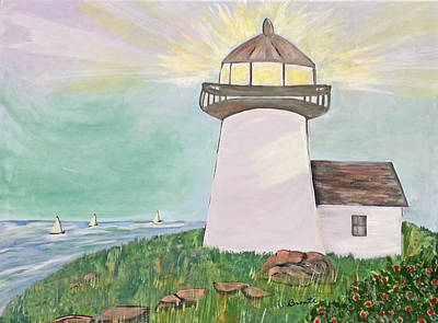 Lighthouse And Sailboat Painting - Walter's Birthday Wish by Carol  Lynn Bronte