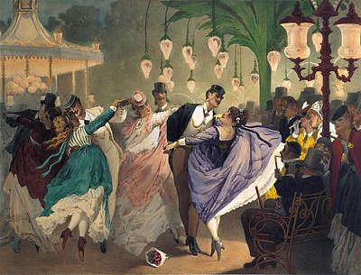 Dancing Drawing - Waltz At The Bal Mabille  by Philippe Jacques Linder