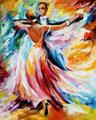 Waltz - Palette Knife Oil Painting On Canvas By Leonid Afremov Original by Leonid Afremov